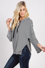 Black Striped Hooded Maternity Top