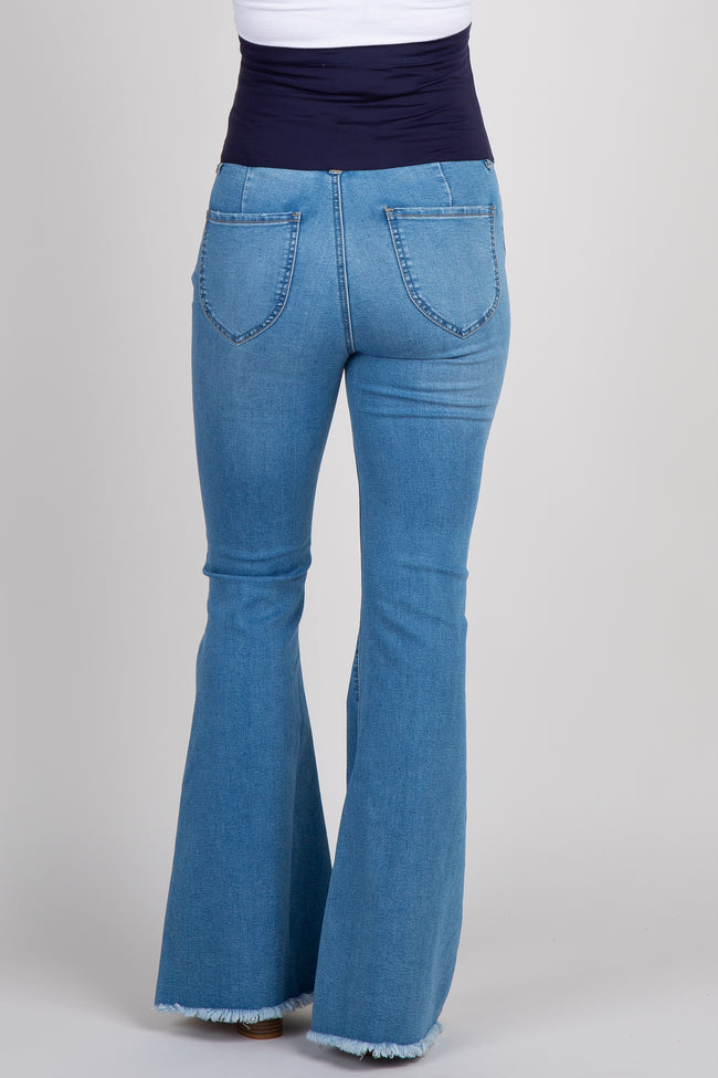 Blue Frayed Maternity Flare Jeans