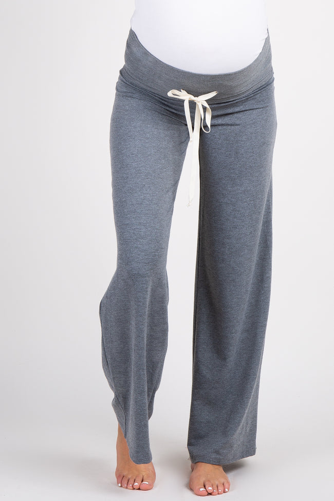 Charcoal Drawstring Foldover Maternity Lounge Pants