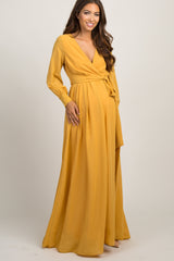 Yellow Chiffon Long Sleeve Pleated Maxi Dress
