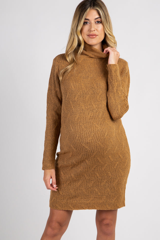 Camel Cable Knit Turtle Neck Maternity Sweater Dress