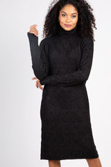 Black Cable Knit Turtle Neck Sweater Dress