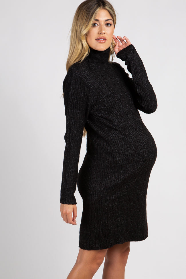 Black Cable Knit Turtle Neck Maternity Sweater Dress