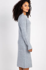 Grey Knit Mock Neck Sweater Dress