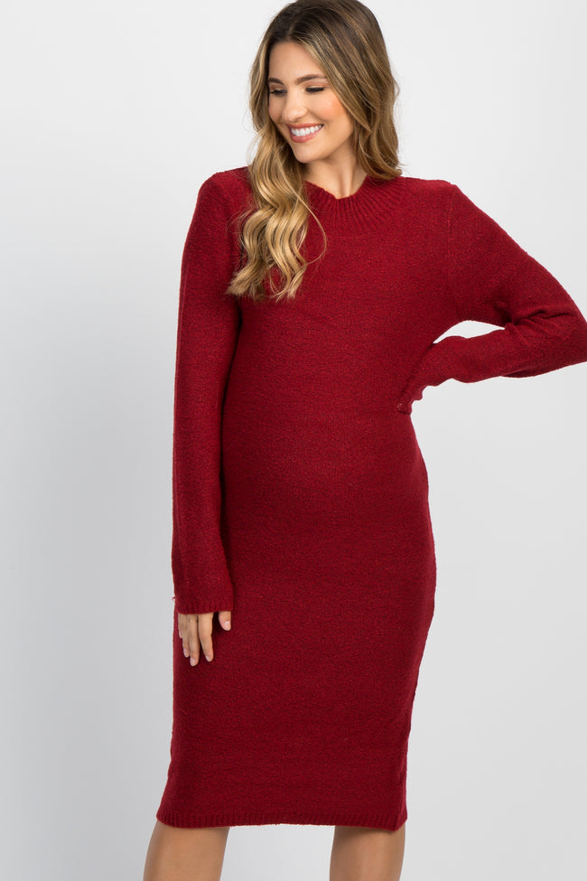 Red Knit Mock Neck Maternity Sweater Dress