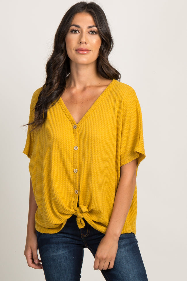 Mustard Button Front Knot Dolman Top