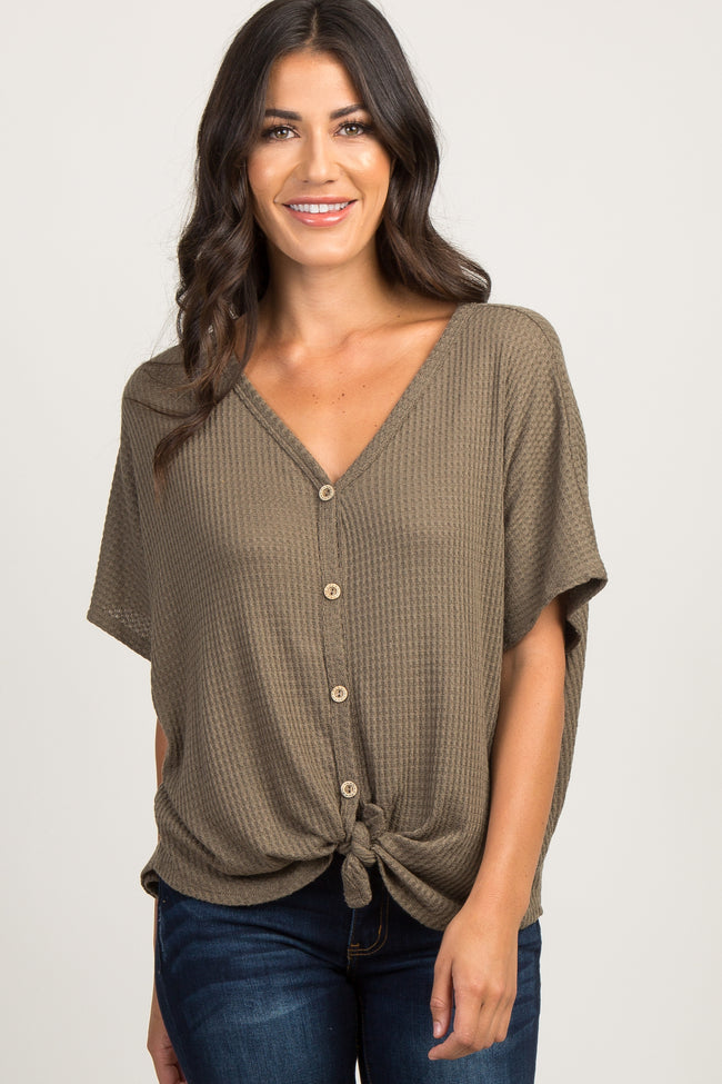 Olive Button Front Knot Dolman Top