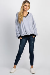 Black Colorblock Velvet Pullover Maternity Sweater