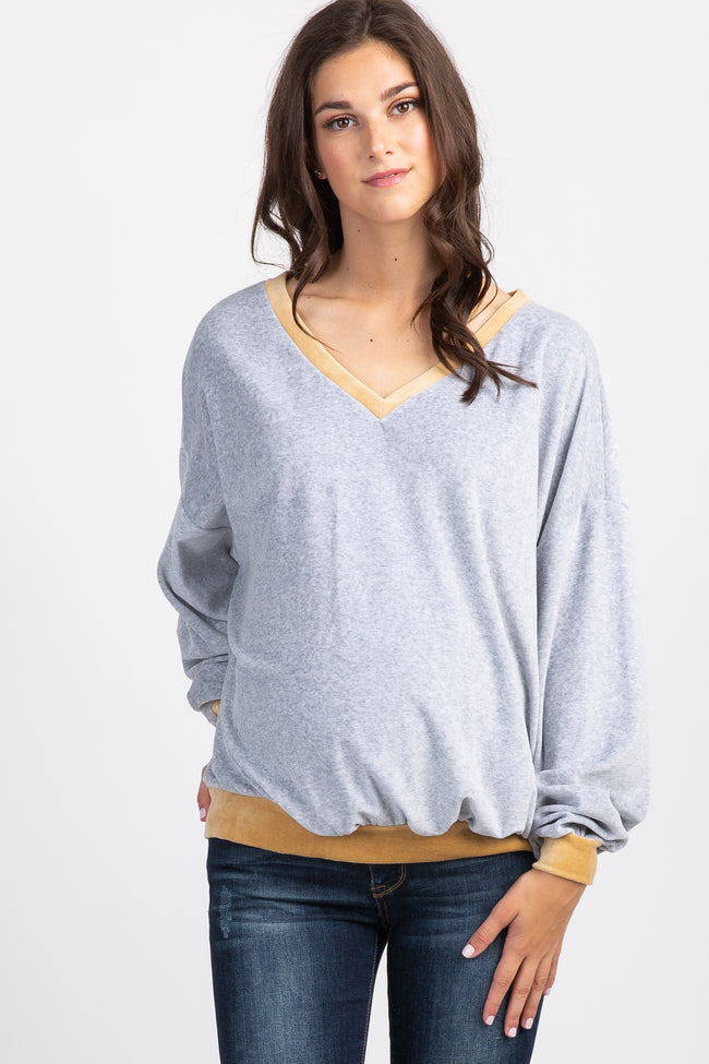 Grey Colorblock Velvet Pullover Maternity Sweater