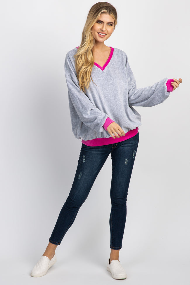 Pink Colorblock Velvet Pullover Sweater