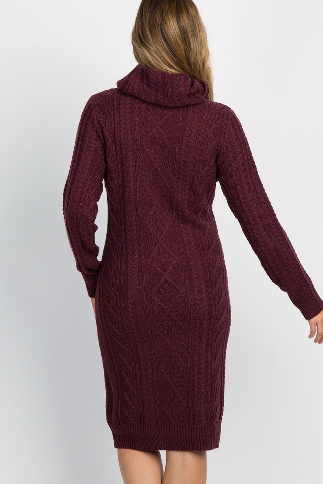 Burgundy Cable Knit Cowl Neck Maternity Sweater Dress