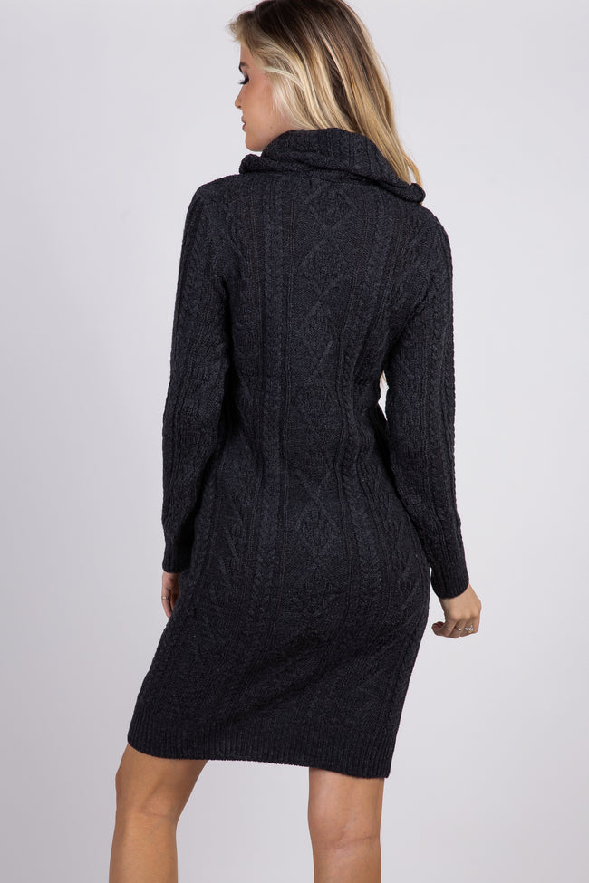 Charcoal Cable Knit Cowl Neck Sweater Dress