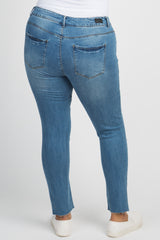 Blue Ripped Knee Raw Cut Plus Jeans