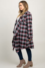 Black Plaid Draped Plus Maternity Cardigan