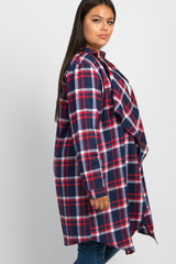 Navy Plaid Draped Plus Cardigan