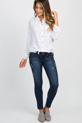 White Solid Button Up Tie Front Top