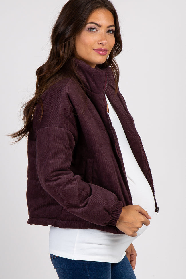 Plum Corduroy Mock Neck Maternity Bomber Jacket