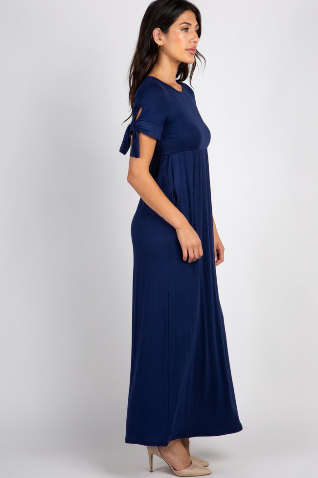 Navy Solid Tie Sleeve Maxi Dress