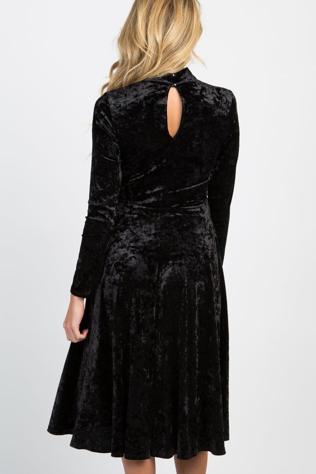 Black Crushed Velvet Mock Neck Maternity Midi Dress