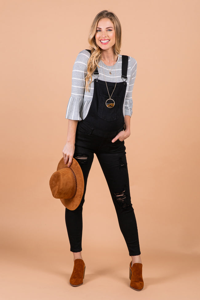 Black Distressed Denim Maternity Overalls
