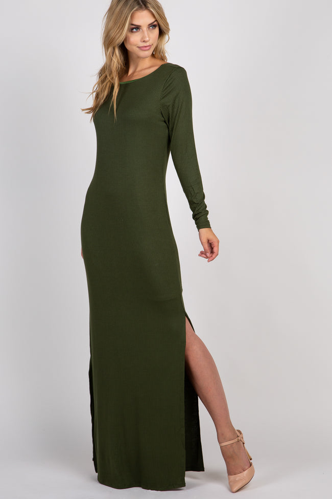 Olive Ribbed Long Sleeve Open Back Side Slit  Maxi Dress