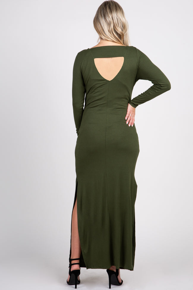 Olive Ribbed Long Sleeve Open Back Side Slit Maternity Maxi Dress