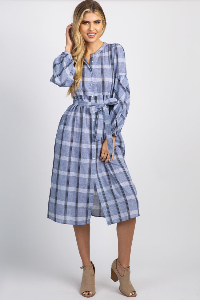 Denim Blue Plaid Button Down Front Tie Midi Dress