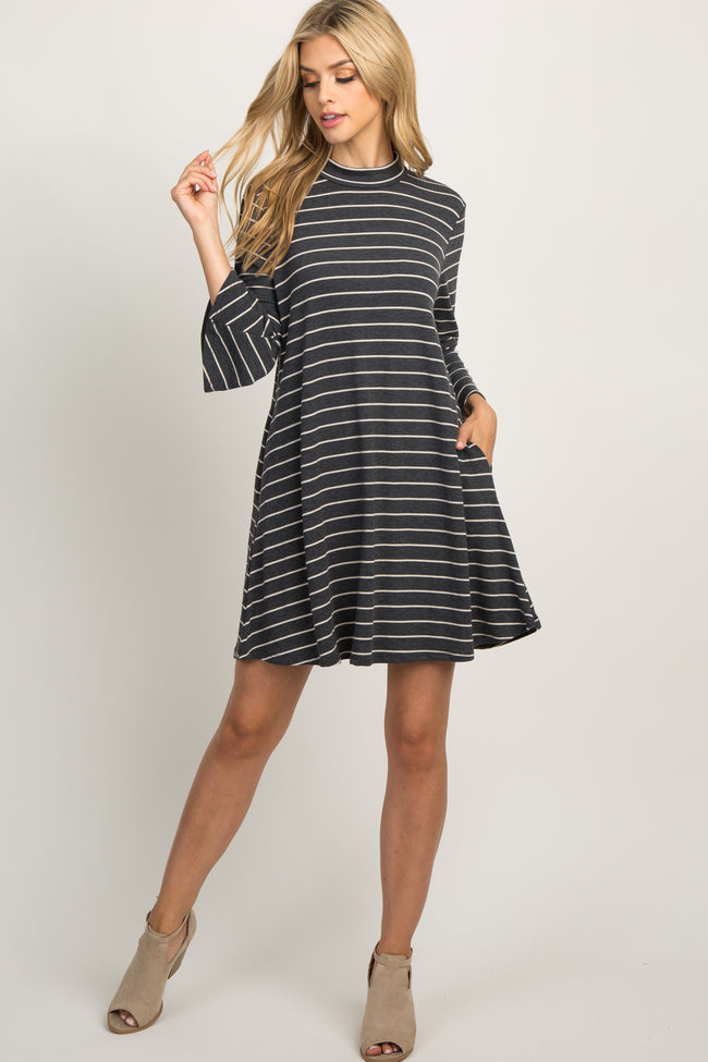Charcoal Striped 3/4 Sleeve Mock Neck Swing Dress