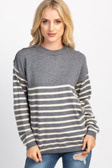 Grey Striped Button Accent Knit Sweater Top