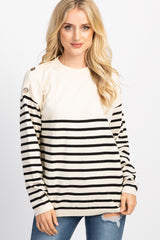 Cream Striped Button Accent Knit Sweater Top