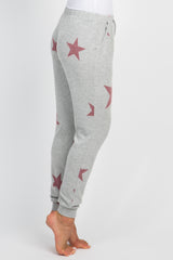 Heather Grey Red Star Printed Lounge Pants