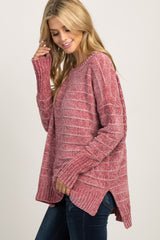 Burgundy Striped Hi-Low Pullover Sweater