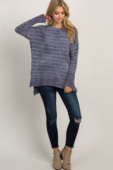 Grey Long Sleeve Striped Hi-Low Pullover Maternity Sweater