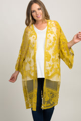 Yellow Lace Mesh Long Plus Maternity Kimono