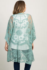 Green Lace Mesh Long Plus Maternity Kimono