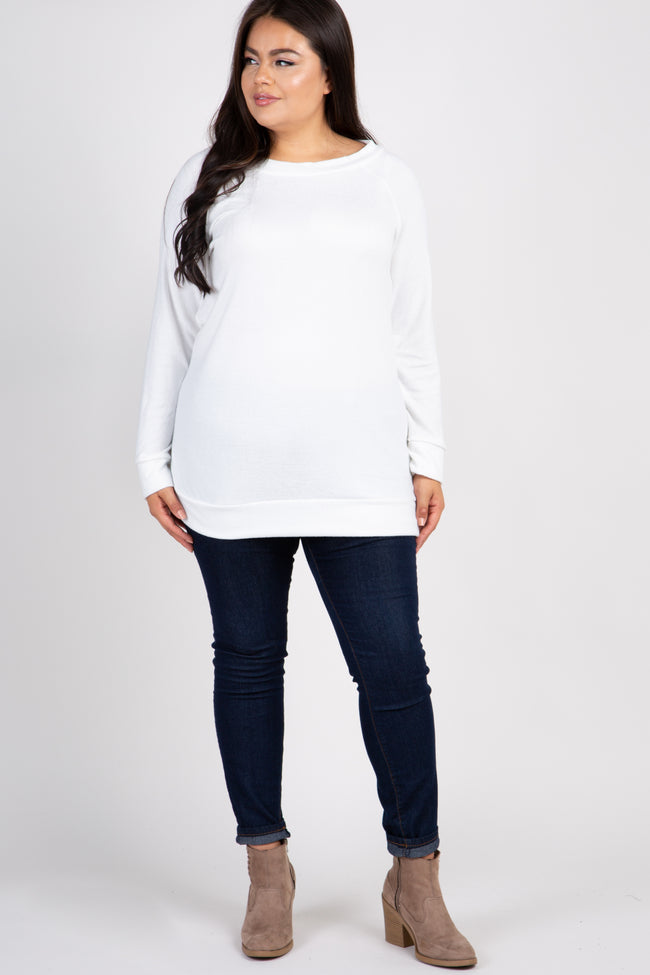 Ivory Basic Long Sleeve Plus Sweater