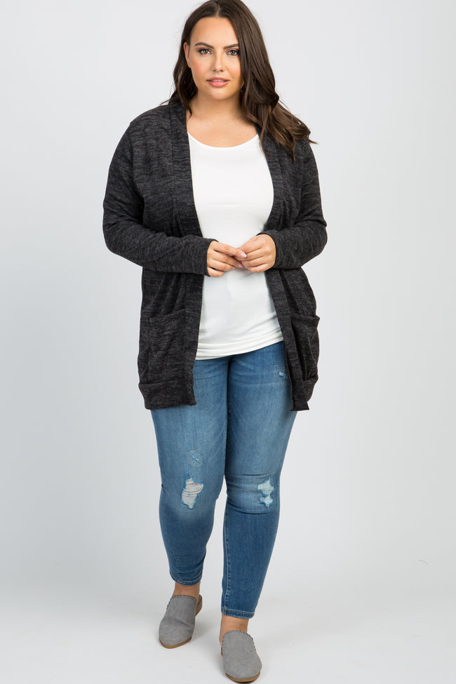 Black Heathered Long Sleeve Pocket Plus Cardigan
