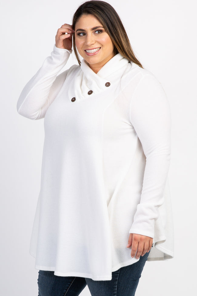 Ivory Heathered Cowl Neck Button Plus Top
