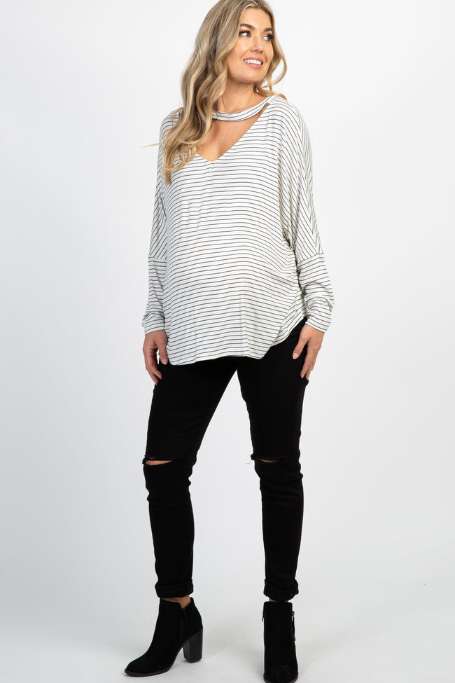 Ivory Striped Keyhole Cutout Maternity Top