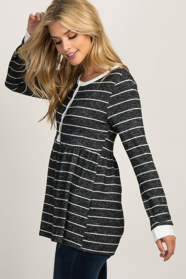 Black Heathered Striped Peplum Top