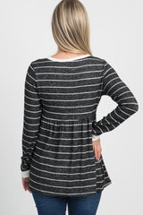 Black Heathered Striped Maternity Peplum Top
