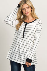 White Striped Peplum Maternity Top