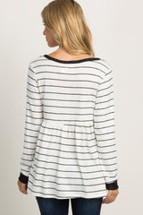 White Striped Peplum Top