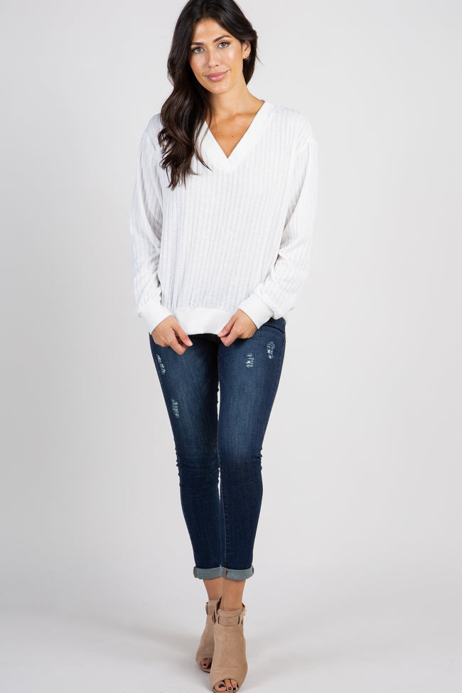 Ivory Ribbed Knit V-Neck Top