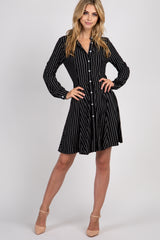 Black Striped Button Down Flare Dress