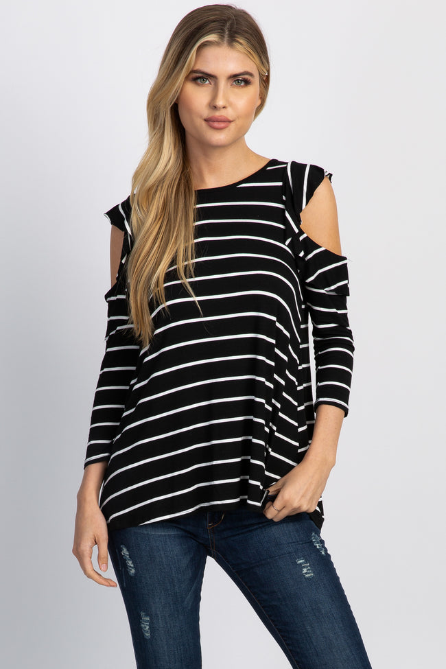 Black Striped Cold Shoulder Ruffle Accent Maternity Top