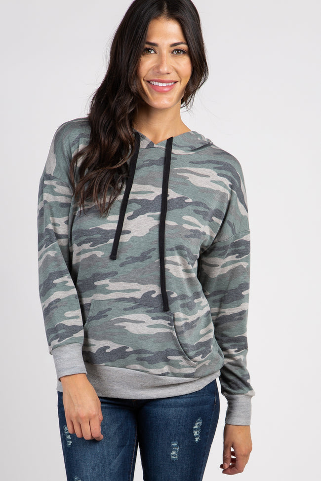 Olive Camo Hooded Maternity Top
