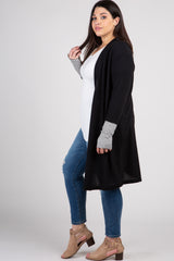 Black Solid Colorblock Striped Sleeve Plus Cardigan