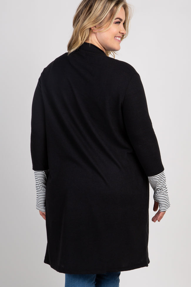 Black Solid Colorblock Striped Sleeve Plus Maternity Cardigan