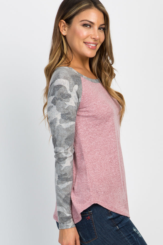 Mauve Camo Print Colorblock Long Sleeve Top